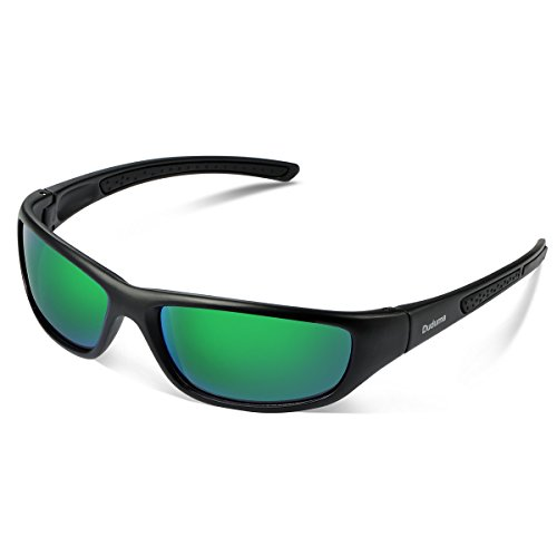 Duduma Gafas de Sol Deportivas Polarizadas Para Hombre Perfectas Para Esquiar Golf Correr Ciclismo TR8116 Súper Liviana Para Hombre y Para Mujer (marco mate negro con lente verde)