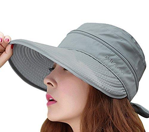 FakeFace Damen 2in1 Wide Brim Sommer Folding Anti-uv Golf Tennis Sun Visor Cap-Strand-Hut Grau One Size -
