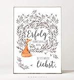 DIN A4 Kunstdruck Poster ERFOLG -ungerahmt- Typografie, Motivation, gemütlich, Fuchs