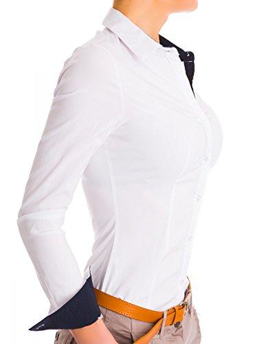 Danaest Damen Figurbetonte Langarm Bluse Business Hemd Tailliert (468) Weiß