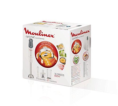 confronta il prezzo Moulinex DD642110 Frullatore ad Immersione, 800 W, 0.8 Litri, Plastica, 10 Velocità, Grey, White miglior prezzo