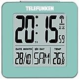 Telefunken Wecker Funkwecker digital LCD DCF mit Thermometer Temperaturanzeige und Kalender autom. Zeitumstellung türkis Mint FUD-25 (T)