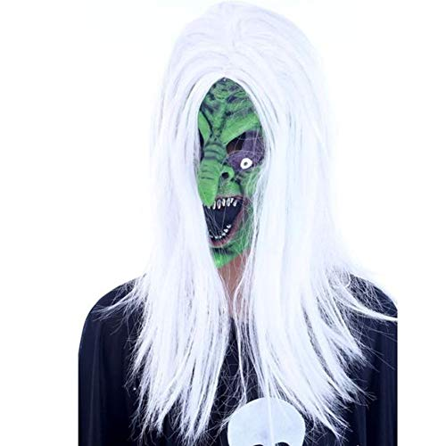 Cosanter Halloween Horror Latex Maske Streich Requisiten Make-up Party Kostüm (Weiß-Haariges Grünes Gesichts Hexe Muster)