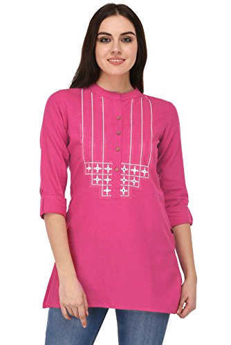 Pistaa women's Pink Embroidered Cotton Short Top Kurti with Plus size