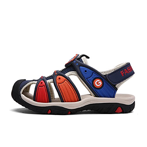 Printemps et l'été Enfant Beach Sandales Sabots mixte enfant de Marche Randonnée Chaussures Sandales Bout Fermé Sport Respirant Confort Bleu Foncé
