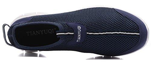 Vibdiv Männer Leichte Atmungsaktive Anti-rutsch Slip on Casual Schuhe Blau-T