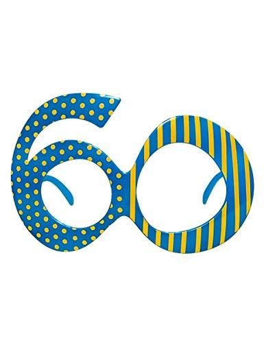Unbekannt PartyDeco Brille in Form der Nummer 60 mit Punkten und Streifen, Farbe hellblau/gelb, OKR9-60
