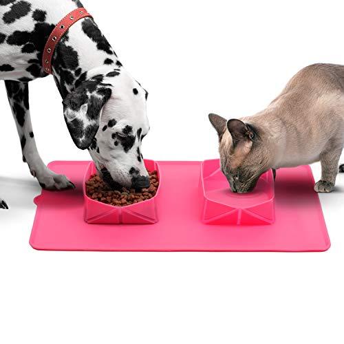 AVENTTURE Comedero y Bebedero Plegable para Perros y Gatos | Comedero Doble para Mascotas Grandes y pequeñas, Ideal para Viajes | Tapete portátil con Dos comederos, fácil de Plegar y Guardar. (Rosa)