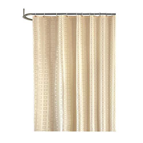 AMDXD Set Polyester Duschvorhang Gitter Design Badewanne Vorhang für Badezimmer Beige 150x180CM