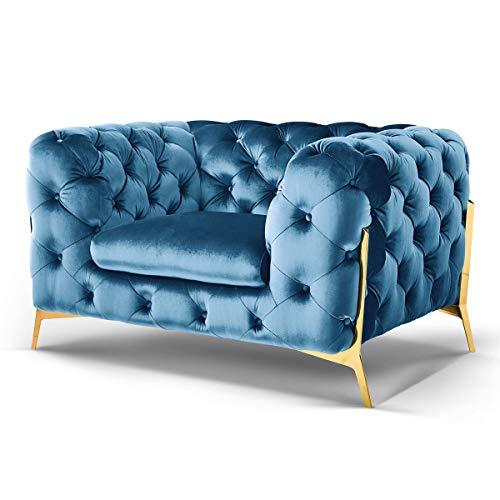 Designer Chesterfield Sofas Superior Couch Samt-Stoff goldene Füße Möbel (Türkis, Sessel)