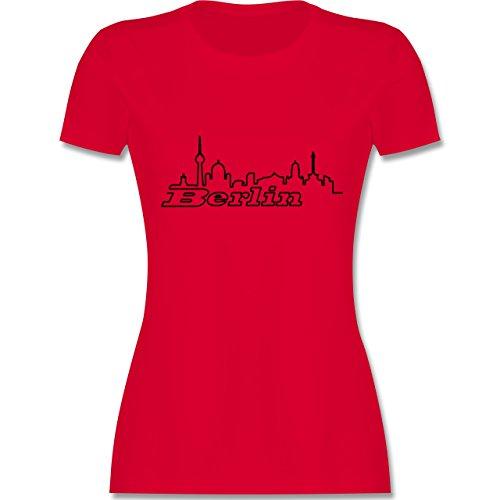 Skyline - Berlin Skyline - tailliertes Premium T-Shirt mit Rundhalsausschnitt für Damen Rot