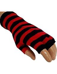 Gestreifte Fingerlose Handschuhe Rot