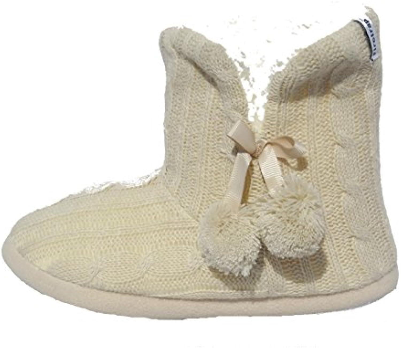 Mujeres Niñas Firetrap Cable de punto invierno Acogedor Pantuflas Botas