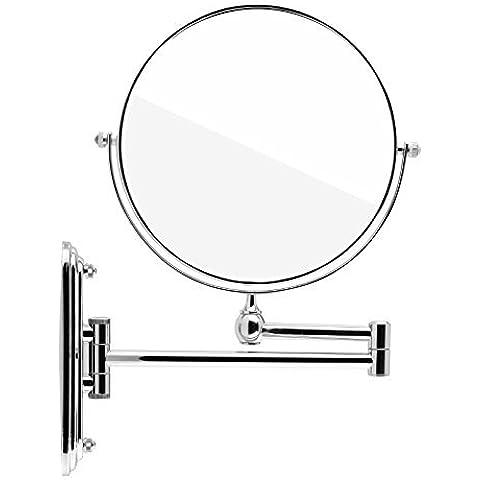 Spaire Espejo de Baño Aumento Espejo de Pared Plegable 8'' Pulgadas con Doble Cara:1x + 7x Aumento para Maquillaje o Afeitado 360 ° de Rotación (Plato)