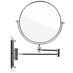 Spaire Specchio Bagno 7X Ingrandimento + Normale Dobbia Faccia 8 Pollici Specchio Trucco da Parete Girevole, Allungabile e Finitura Cromata