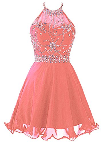 Azbro Women's Floral Beaded Trim Halter Cocktail Dress Corail