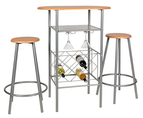 ts-ideen 3er Set Essgruppe Küchen Bistrotisch Barhocker platzsparend Esstisch Stühle 3-teilig Alugestell in silber und Nussbaum-Optik 80 x 50 cm