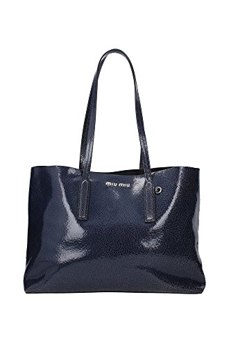 Borse Shopping Miu Miu Donna Pelle Bluette e Argento 5BG024BLUETTE Blu 16x28x38 cm