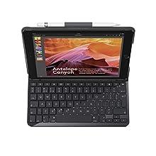 Logitech Slim Folio iPad Case with Wireless Bluetooth Keyboard, iPad 5th & 6th Generation (Models: A1893, A1954, A1822, A1823), 14 iOS Shortcut Keys, 4 Year Battery Life, QWERTY UK Layout - Black