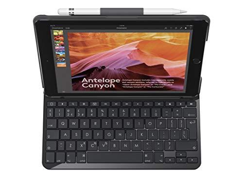Logitech Slim Folio iPad Tasche (mit Drahtloser Tastatur und Bluetooth, Kompatibel mit iPad 5 und iPad 6 Generation, QWERTY UK Tastaturlayout) - Schwarz Apple Wireless Keyboard Kit