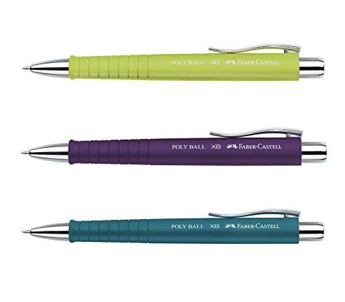 3 Stück Faber-Castell Kugelschreiber Set POLY BALL Lime Petrol Lila Druckkugelschreiber mit Großraum Mine blau, 0,5mm XB, ergonomische Dreieckform, rutschfester Schaft, Metallclip, dokumentenecht + GRATIS Ersatzmine