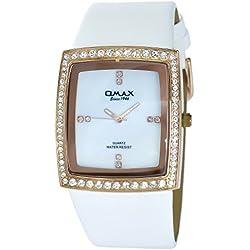 Omax Women's Quartz Watch White Gold Analogue Metal Leather Rhinestones Wristwatch