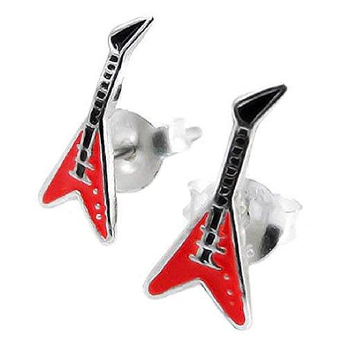 ckstar E-Gitarre Ohrringe Red & Black Sterling Silber 925 ()
