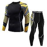 POIUDE Ausverkauf Herren Kompression Rüstung Fitness Laufen Sport Schnelltrocknende HeatGear Armour Unterhemd Set(Schwarz, X-Large)