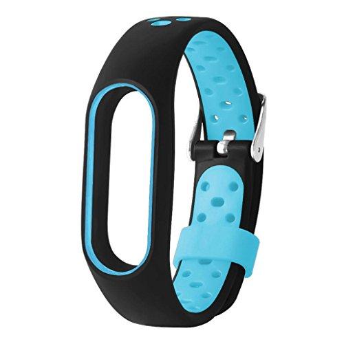Wawer Leichte Lüften TPE Wrist Strap Armband Armband für Xiaomi Mi Band 2 (Blau) -