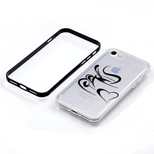 Apple iPhone 8 4.7 Hülle, Voguecase Schutzhülle / Case / Cover / Hülle / 2 in 1 TPU Gel Skin (lächelndes Gesicht 02) + Gratis Universal Eingabestift Kaffee