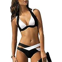 Amusement 1 * Bikini Split traje de baño para mujer adecuado para deportes al aire libre mujer negro y blanco, color negro y blanco, tamaño XXXL