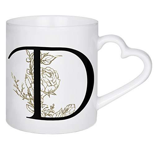artboxONE Herztasse D ? Flowers Gold von Dunja Krefft - Herztasse Buchstaben/D