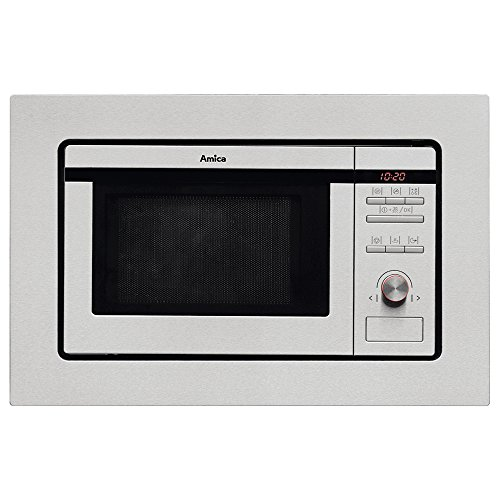 Amica AMM20G1BI Built-in Wall Unit Microwave Oven and Grill 20 litre Stainless Steel 8 Auto Cook Programmes LED Timer Clock 5 Power Levels Child Lock