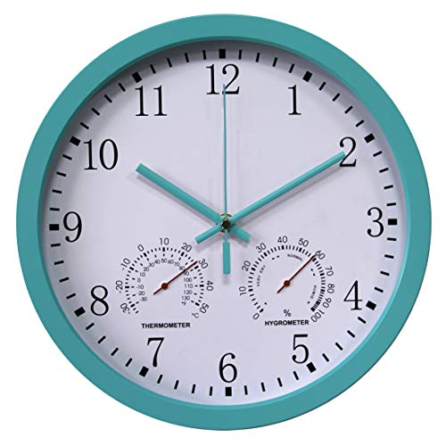 Yavso Wanduhr Funk Funkuhr Lautlos Funkwanduhr mit Thermometer und Hygrometer, 30cm (Blau)