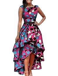 Gavemenget Verano Mujer Fashion Alta Baja Irregular Vestidos de Cóctel Partido Fiesta Midi Dress Casual Cuello Redondo Sin Mangas…