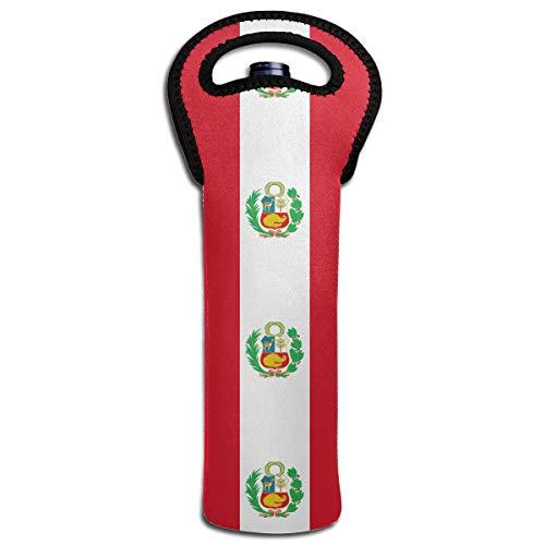 (Peru Flag Wine Bottle Tote Bag Carrier Bag with Handle)