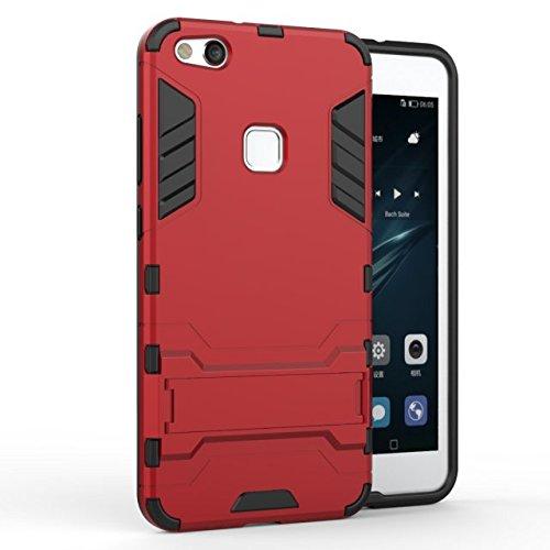 YHUISEN Huawei P10 Lite Case, 2 In 1 Eisen Rüstung Tough Style Hybrid Dual Layer Rüstung Defender PC + TPU Schutzhülle mit Stand Shockproof Case für Huawei P10 Lite ( Color : Silver ) Red