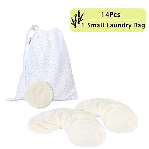 Luxja Bambus Abschminkpads Waschbare, Makeup Entferner Pads Wiederverwendbare (Packung mit 14 Stück) mit 1 Aufbewahrungstaschen, Makeup Cleansingpads (Fit für empfindliche Haut)