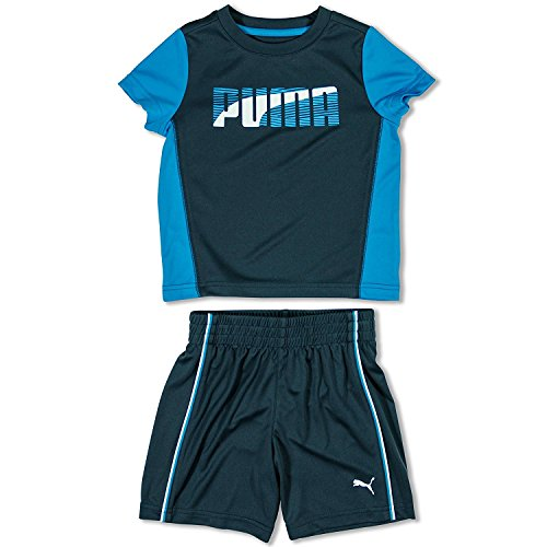 Puma Boys Sportlich Kurzes Set Mesh Shorts Aktiv T-Shirt 2 St¨¹ck Outfit Blau 4 (Athletic Kurze Wicking Mesh)