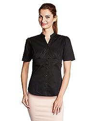 Park Avenue Woman Button Down Shirt (PWSX01153-B9_ Black_86)
