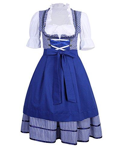 KOJOOIN Damen Dirndl Set Karierte Dirndlbluse Stehkeragen Trachtenkleid Vintage Oktoberfest Bavarian Couture 3 Teilig Blau L
