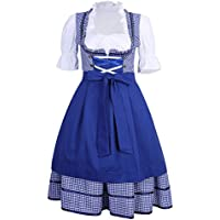 XuBa Traje Falda Vestido Clásico Sexcy de Oktoberfest de Cerveza de Mujeres de Camarero de Sirve Azul Talla de Alemania 42