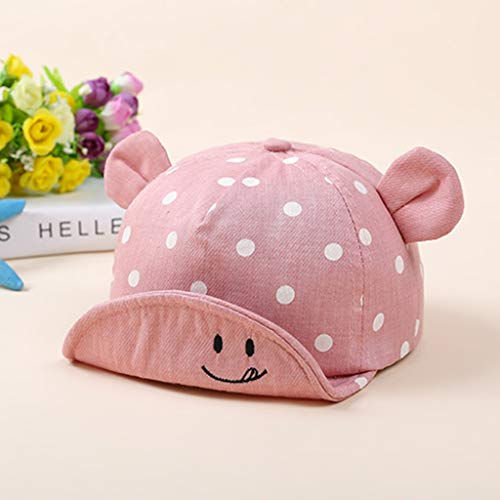 Lynnie cappelli da sole per bambini, cappelli da sole carini con orecchie, neonati, cappellini da sole con protezione solare portatile a tesa larga, cappelli da sole per l'estate,pink