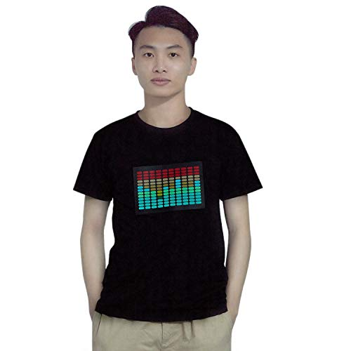 JVSISM M?nner Sound Aktiviert Led T-Shirt Leuchten Blinkt Disco Equalizer Kurzarm Led T-Shirt XL (Led-leuchten Für T-shirts)