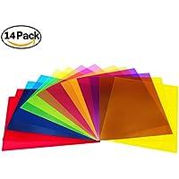 Fogli filtranti leggeri correttivi della luce, in gel di plastica trasparente, confezione da 14fogli in 7 colori assortiti, dimensioni: 22 x 28 cm