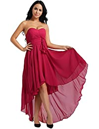 5863519f1fcbe Freebily Women s Strapless Chiffon Prom Party Dresses Sexy High-Low  Cocktail Bridesmaid Evening Gowns
