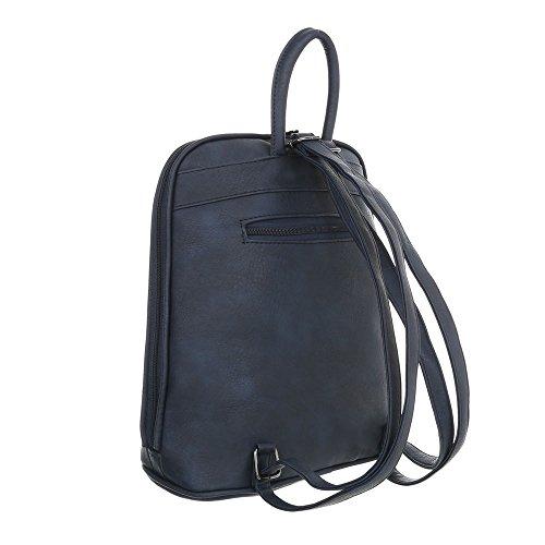 iTal-dEsiGn Damentasche Mittelgroße Rucksack Used Optik Freizeittasche Kunstleder TA-C5001 Dunkelblau