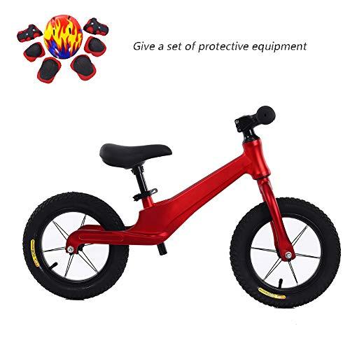 Ultra-Bequeme Balancen-Fahrrad, 12-Zoll-Air Reifen Kein Pedal-Kinder-Fahrrad Für 2-6 Jahre Alt, Kleinkind-Balancen-Fahrrad Aus Magnesium-Legierung, Einstellbare Höhe,Rot
