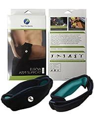 2er Packung - Medizinische Ellenbogenbandage für Golfer/Tennisspieler mit EVA-Polster, von Pro-Athleten getragen, auch für Epicondylitis spange - Unisex - Schwarz
