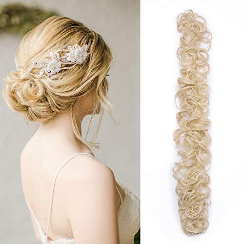 Chignon capelli finti ricci biondi extension elastico lungo diy magic hair bun coda di cavallo accessori ponytail wrap con clip 85g - biondo chiarissimo